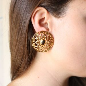 VINTAGE gold round link earrings